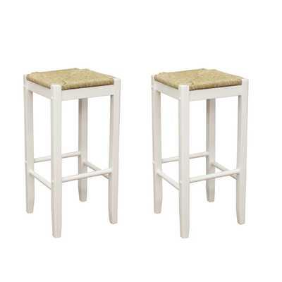 Roanoke White Wood 29-inch Barstools (Set of 2) - Overstock