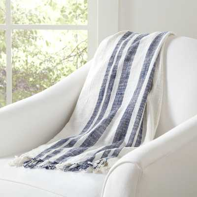 Sharon Striped Throw - Off White / Blue - Birch Lane
