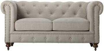 GORDON TUFTED LOVESEAT - Natural Linen - Home Decorators