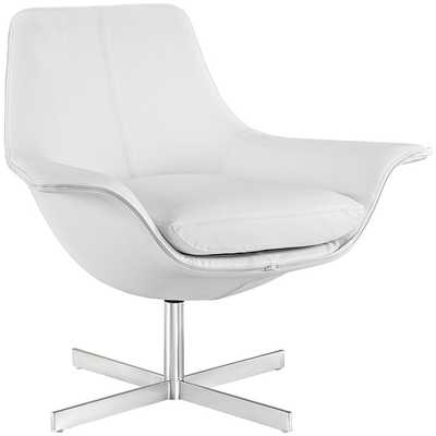 RELEASE BONDED LEATHER LOUNGE CHAIR IN WHITE - Modway Furniture