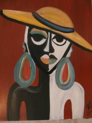 """The Lady with the Yellow Hat- 16"""" x 20""""-Unframed - Etsy"""
