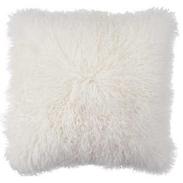 "Mongolian Pillow 22"" - White - With insert - Z Gallerie"