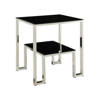 MID-CENTURY LIVING Alta Vista Black + Chrome Dual Metal Accent Table - Overstock
