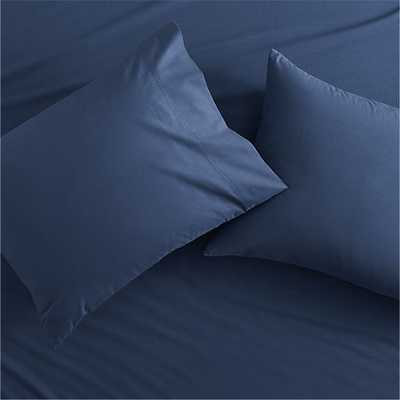 "Set of 2 standard organic navy percale pillowcases- 26""Wx20""D- Insert Sold Separately - CB2"