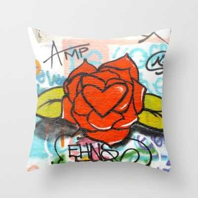 "Rose/heart graffitti PILLOW- 16"" X 16"" - Insert Sold Separately - Society6"