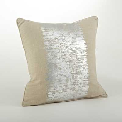 "Metallic Banded Design Pillow,Silver - 20""sq.,-Down insert - Overstock"