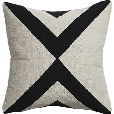 "Xbase 23"" pillow with down-alternative insert, Ivory and Black - CB2"