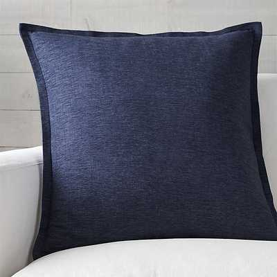 """Linden Cobalt 23"""" Pillow with Feather-Down Insert - Crate and Barrel"""