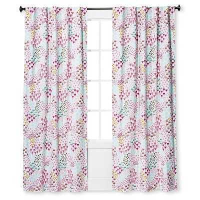 "Floral Print Twill Light Blocking Curtain Panel -63""x42"" - Target"