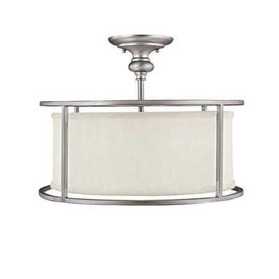Springfield Drum Shade Semi Flush Ceiling Light - Satin nickel - shadesoflight.com