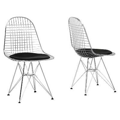 Baxton Studio Avery Mid-Century Modern Wire Chair with Black Cushion (Set of 2) - Target