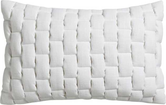 """Mason quilted white 18""""x12"""" pillow with down-alternative insert - CB2"""