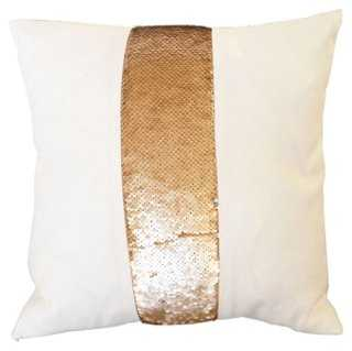 """Gold Rush Pillow, Copper/White - 14"""" sq - insert included - One Kings Lane"""