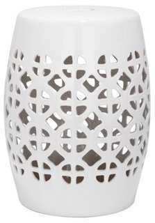 Janera Ceramic Garden Stool, White - One Kings Lane