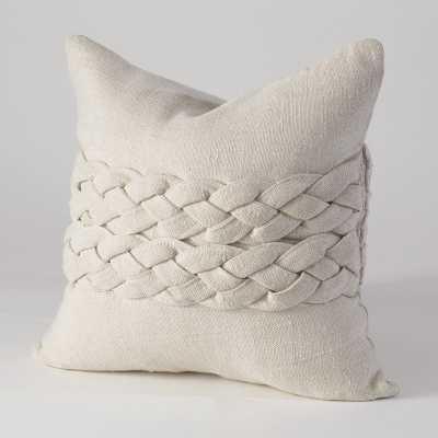 "Studio A Avola Braided Pillow- Ecru - 20""L x 20""W - Down fill insert - Candelabra"