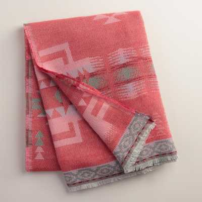 Coral Tribal Throw with Fringe - World Market/Cost Plus