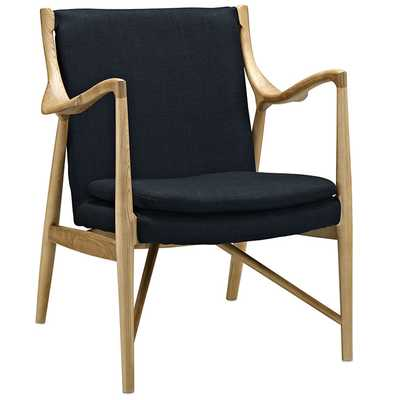 MAKESHIFT UPHOLSTERED FABRIC LOUNGE CHAIR IN BIRCH BLACK - Modway Furniture