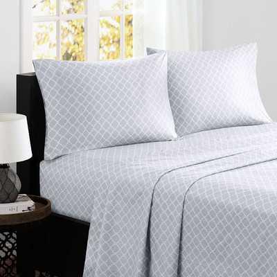 Fretwork 200 Thread Count Cotton Sheet Set, Gray, California King - Wayfair