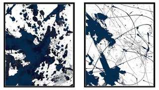 """Abstract Print Diptych, Blue - 21.5""""L x 17.5""""W x 1.875""""D - Black Frame - One Kings Lane"""