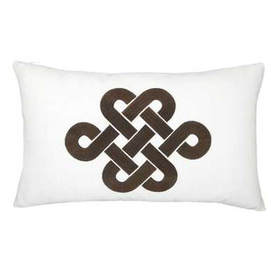 """Knot Chinoserie Embroidered Throw Pillow - 12"""" H x 20"""" W x 5"""" D- Down/Feather - Wayfair"""