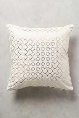 """Quatrefoil Pillow - Gold - 18"""" x 18"""" - Polyfill Insert - Anthropologie"""