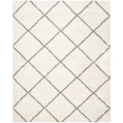 Safavieh Hudson Diamond Shag Ivory Background and Grey Rug - Overstock