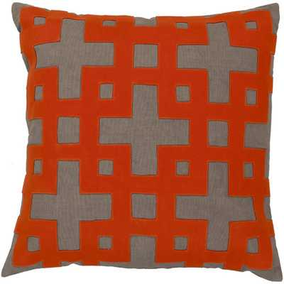 """Molly Pillow- Stone / Poppy Red / Paprika / Brindle / Sienna- 18"""" Sq- Down fill insert - AllModern"""