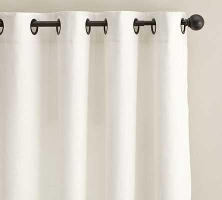 "Emery Linen/Cotton Grommet Drape - Cotton Lining, White, 108""L - Pottery Barn"