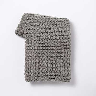 Horizontal Double Rib Throw - Platinum - West Elm