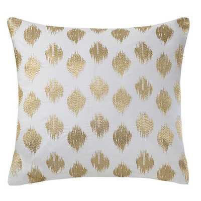 "Nadia Dot Embroidered Cotton Throw Pillow, 18""Sq, Gold, Polyfill Insert - AllModern"