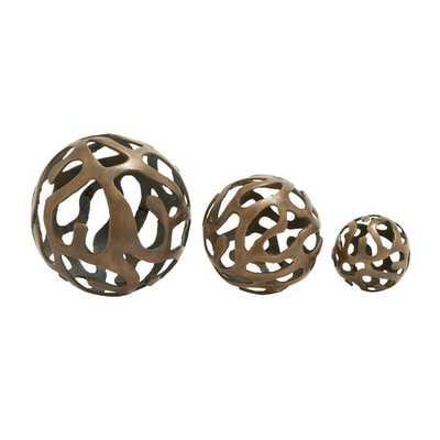 3 Piece Aluminum Decorative Ball Sculpture Set - AllModern