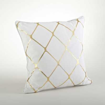 Metallic Diamond Design Pillow-20inch, Gold, Silver - With Insert - Overstock