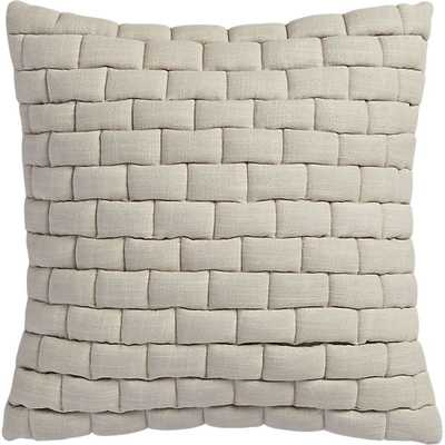 "Mason quilted oat 18"" pillow with down-alternative insert - CB2"