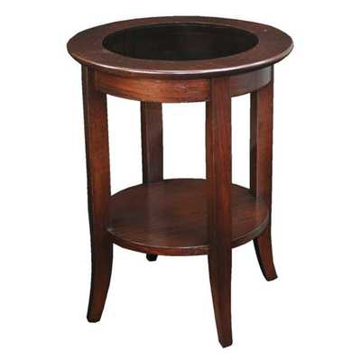 Solid Oak Chocolate Bronze Round Side Table - Overstock