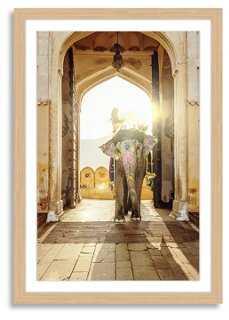 """Mlenny, Elephant at Amber Palace - 33"""" x 48"""" - Blonde Frame - One Kings Lane"""