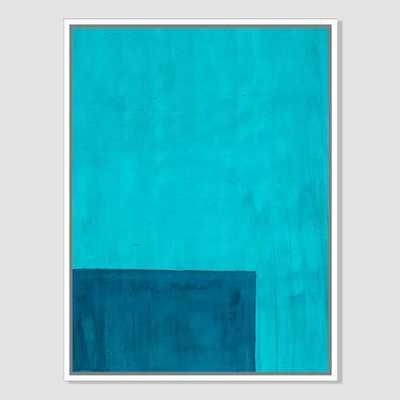 """Roar + Rabbit Print - Color Horizon - Teal-  30""""x40"""" (Canvas) - White frame - West Elm"""