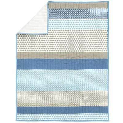 Patterned Print Baby Quilt (Blue) - Land of Nod