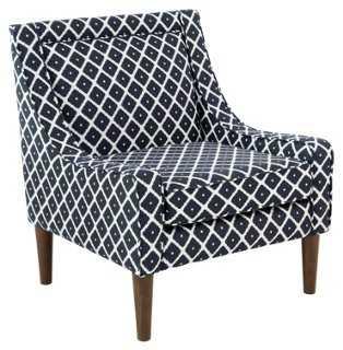 Scarlett Swoop-Arm Chair, Navy Diamond - One Kings Lane