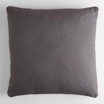 "Tornado Gray Herringbone Cotton Throw Pillow - 20""Sq. - Gray - Polyester fill - World Market/Cost Plus"