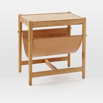 Leather Sling Side Table - Natural Oak - West Elm