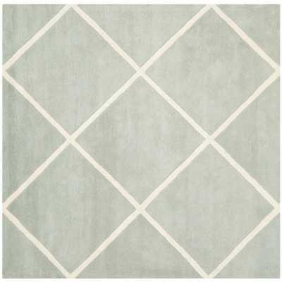 Safavieh Handmade Moroccan Diamond Pattern Grey Indoor Wool Rug (7' Square) - Overstock
