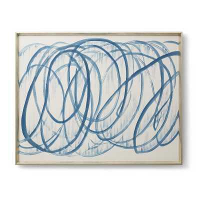 CASTELLI FRAMED SILK PANEL, BLUE -48x38-Framed (Silver) - Bungalow 5