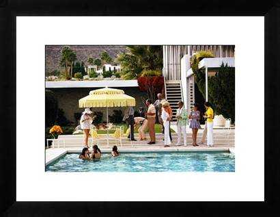 Poolside Party - 28x22, Paper - Framed (Matte Black) - Photos.com by Getty Images