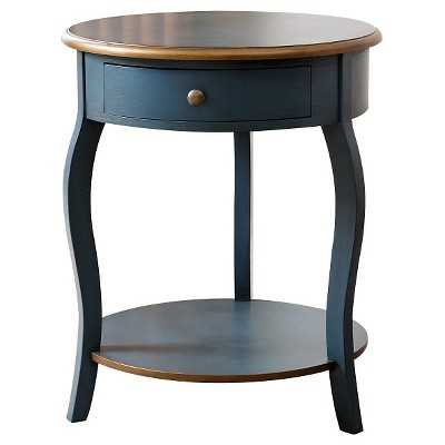 Clarence 1 Drawer Round Wood End Table - Teal/Gold - Abbyson Living - Target