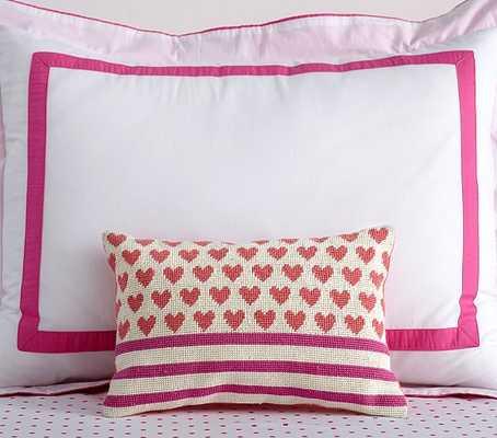 "Heart Stripes Pillow- PINK/CORAL- 9 x 13 x 2.5""- Lofty polyester fill insert - Pottery Barn Kids"