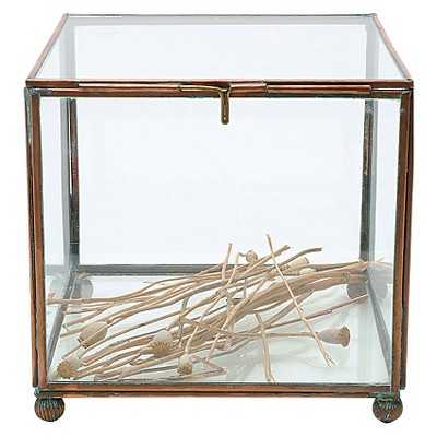 """Square Brass and Glass Display Box - Copper Finish (7"""") - Target"""