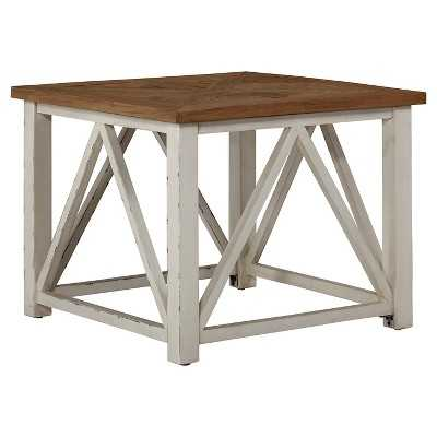 Marshone Square End Table - White/Light Brown - Signature Design by Ashley - Target