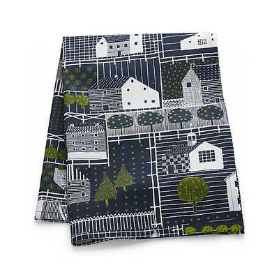 Farmhouse Village Blue-White Dish Towel - Crate and Barrel