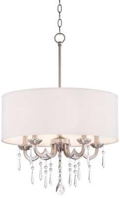"Georgiana 20"" Wide White Shade Chandelier - Lamps Plus"
