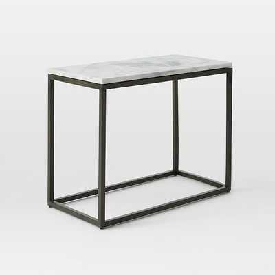 Box Frame Narrow Side Table - Marble/Antique Bronze - West Elm